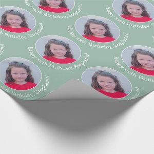 Circle One Photo with Birthday Greeting - Mint Wrapping Paper