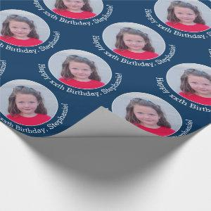 Circle One Photo with Birthday Greeting - Navy Wrapping Paper