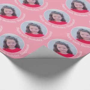 Circle One Photo with Birthday Greeting - Pink Wrapping Paper