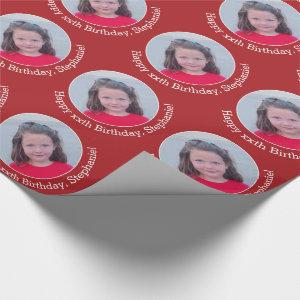 Circle One Photo with Birthday Greeting - Red Wrapping Paper