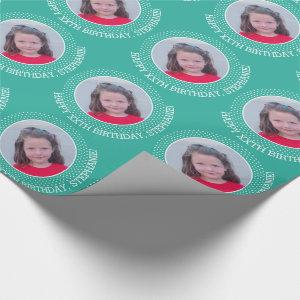 Circle One Photo with Birthday Greeting - Teal Wrapping Paper