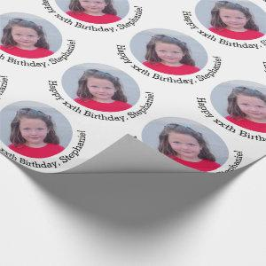 Circle One Photo with Birthday Greeting - White Wrapping Paper