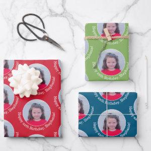 Circle Photo with Birthday Greeting Red Blue Green Wrapping Paper Sheets