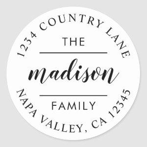 Circle Script | Create Your Own Return Address Classic Round Sticker