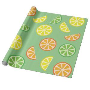 Citrus Slice Cute Fruit 1st Birthday Wrapping Paper