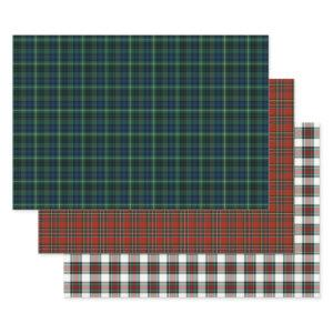 Clan Stewart Tartan Red, Green, and White Plaid Wrapping Paper Sheets