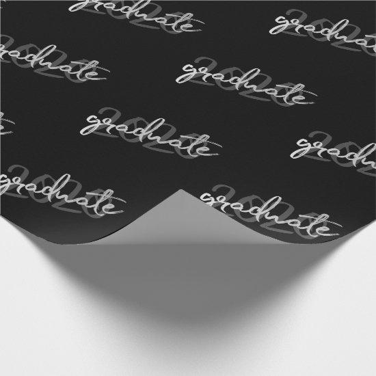 Class of 2019 | Black Custom Year Graduate Script Wrapping Paper