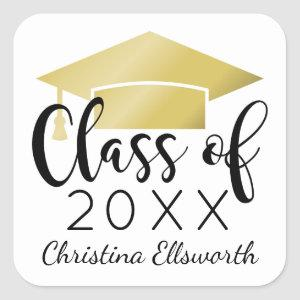 Class of 2020 | Gold Cap Graduation Square Sticker
