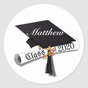 Class of 2020 Graduation Cap and Diploma Classic Round Sticker