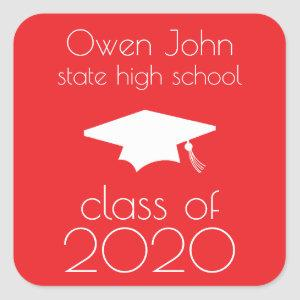 Class Of 2020 Label (Red Graduation Cap)