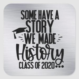 Class of 2020 Silver Black Graduation Party Favor Square Sticker