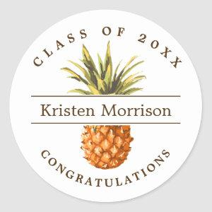 Class of 2020 Tropical Pineapple Graduation Party Classic Round Sticker