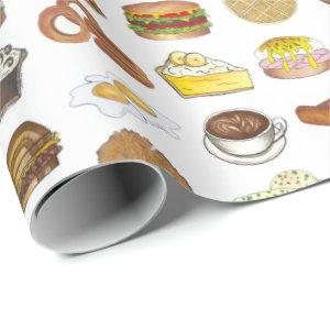 Classic American Lunch Counter Greasy Spoon Diner Wrapping Paper