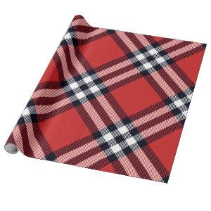 Classic and Elegant Red Plaid Holiday Wrapping Paper