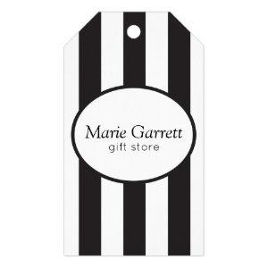 Classic Black Stripes Business Gift Tags