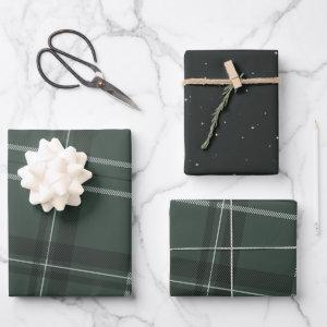 Classic bold holiday plaid and stars hunter green wrapping paper sheets