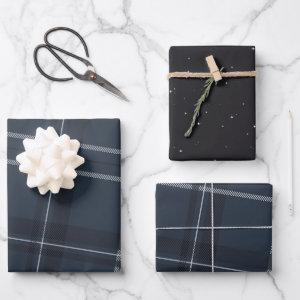 Classic bold navy blue plaid and stars wrapping paper sheets