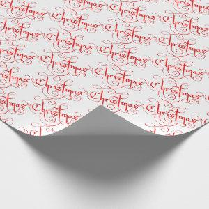 Classic Christmas Vintage Style Red & White Wrapping Paper