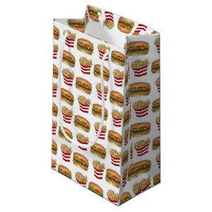 Classic Fast Food Pairing Burger and French Fries Small Gift Bag