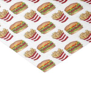 Classic Fast Food Pairing Burger and French Fries Tissue Paper
