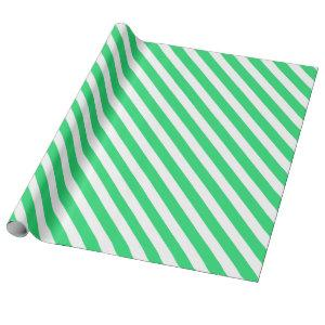 Classic Green & White Stripes Christmas Wrapping Paper