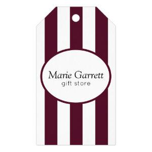 Classic Maroon Stripe Business Gift Tags