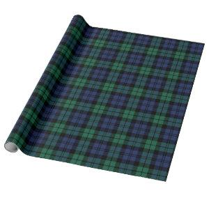 Classic Navy and Green Black Watch Plaid Holiday Wrapping Paper