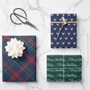 Classic Navy Blue Tartan Plaid Merry Christmas Wrapping Paper Sheets