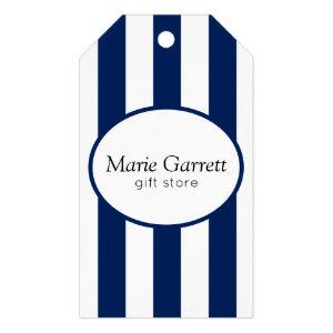 Classic Navy Stripe Business Gift Tags