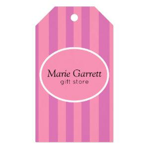 Classic Pink Stripes Business Gift Tags