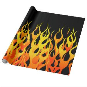Classic Racing Flames on Solid Black Wrapping Paper