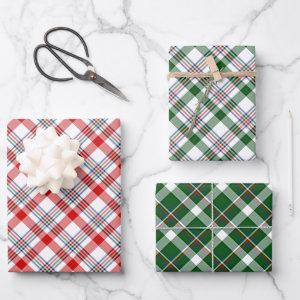 Classic Red Green Blue White Plaid Check Pattern Wrapping Paper Sheets