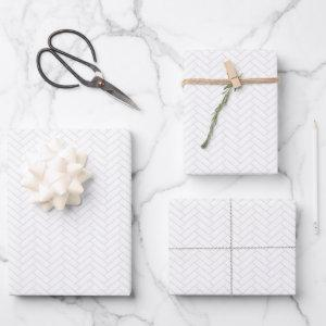 Classic White Gray Herringbone Pattern Wrapping Paper Sheets