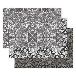 CLASSY BLACK WILL MORRIS HEAVY WEIGHT DECOUPAGE WRAPPING PAPER SHEETS