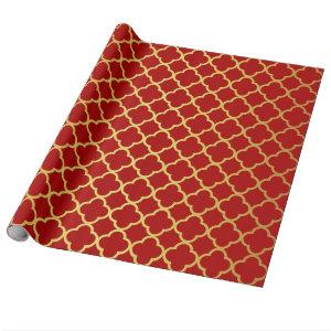 Classy Christmas Gold Red Quatrefoil Geometric Wrapping Paper