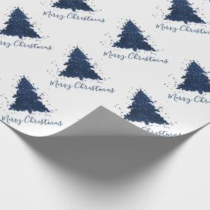 Classy Christmas Trees | Classic Navy Blue Wrapping Paper