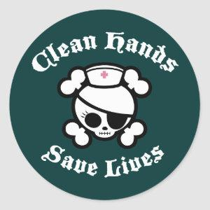 Clean Hands Save Lives Classic Round Sticker