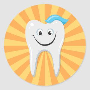 Clean happy cartoon tooth with tooth paste sticker