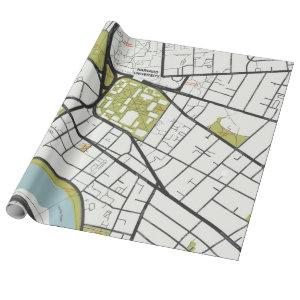 CLEAN HARVARD UNIVERSITY MASSACHUSETTS OUTLINE MAP WRAPPING PAPER