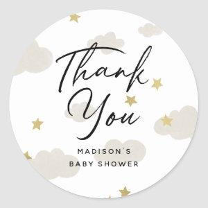 Clouds Stars Gold Thank You Baby Shower Classic Round Sticker