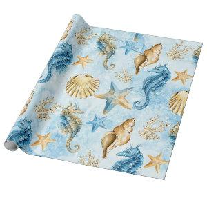 Coastal Chic | Blue and Gold Coral Reef Wrapping Paper