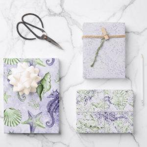 Coastal Chic | Cute Purple and Green Under the Sea Wrapping Paper Sheets