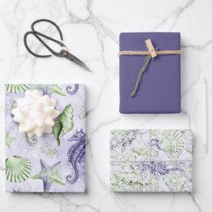 Coastal Chic | Fun Purple and Green Under the Sea Wrapping Paper Sheets
