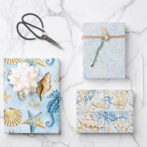 Coastal Chic | Modern Blue and Gold Under the Sea Wrapping Paper Sheets