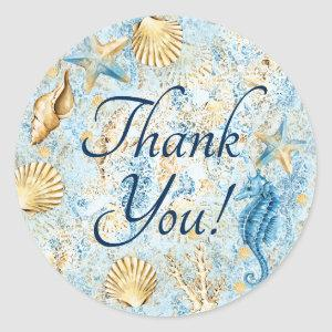 Coastal Chic | Modern Coral Reef Thank You Classic Round Sticker