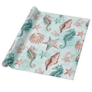 Coastal Chic | Teal and Coral Reef Pastel Pattern