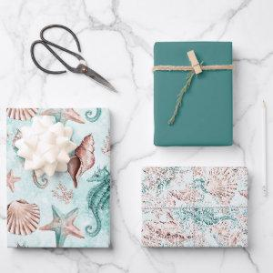 Coastal Chic | Teal and Coral Reef Pastel Pattern Wrapping Paper Sheets