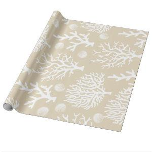 Coastal Elegance White Sea Corals Shells & Taupe Wrapping Paper