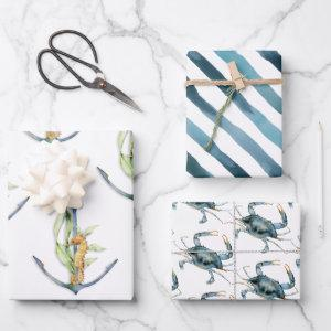 Coastal Seaside Nautical Delights Pattern Wrapping Paper Sheets