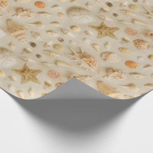Coastal Starfish and Seashells Beach Photo Wrapping Paper
